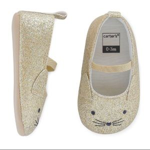 NWOT Carters gold glitter kitty face baby shoes
